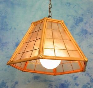 ReTrO VtG TiKi BAR COASTAL BAMBOO & CAPiZ SHELL SWAG HANGiNG PENDANT LiGHT LAMP