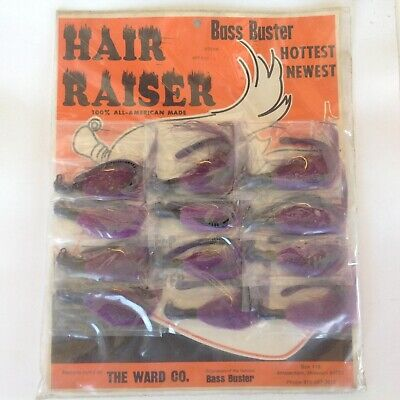 Vintage 12 Piece Carded Bass Buster Hair Raiser Fishing Lures Yellow 1//4oz 600HR