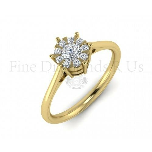 0.20ct Brilliant Round Cut Diamonds Cluster Set Engagement Ring ,18K Yellow gold