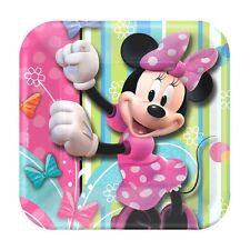 "8 Disney Minnie Mouse Bowtique Birthday Party 7"" Square Dessert Paper Plates"
