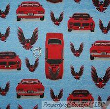 BonEful FABRIC FQ Cotton Quilt Flannel VTG Blue Red Sport Car Beach Scenic Eagle