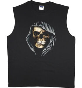 c3bf1d0eda7415 Men s sleeveless shirt hooded skull decal graphic tees muscle tee ...