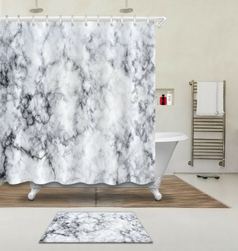 72x72/'/' Gray Marble Surface Texture Bathroom Waterproof Shower Curtain 12 Hooks