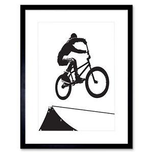 "Painting Sport Bmx Bike Bicycle Jump Air Ramp Black White Framed Print 12x16"""