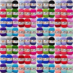 Pelote-de-coton-fil-a-tricoter-laine-tricot-crochet-naturel-18-couleurs-50g-Neuf