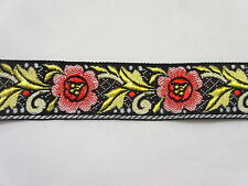 """1 1/8"""" Wide Red Flowers Golden Leaves Woven Jacquard Ribbon Trim - 2 yards"""