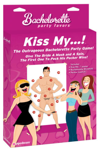 Bachelorette Party Kiss My Game Pin The Tail Style Blindfold Lipstick Poster