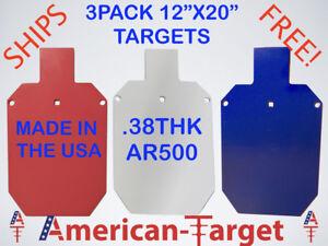 American-Cible-AR500-3-8-Acier-Cible-11-3-4-034-X-20-034-Silhouette-Target