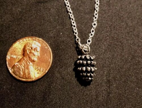 Details about  /Silver  Little Pinecone Charm Pendant Autumn With Chain Necklace Fall