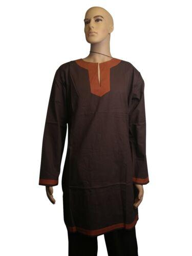 "LARP Medieval Cotton Tunic Shirt Viking Reenactment Black Brown Size 34/""-46/"""
