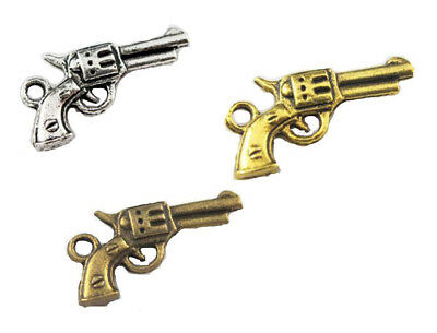 5PCS Silver Revolver Gun Charm Double Sided 21x11mm