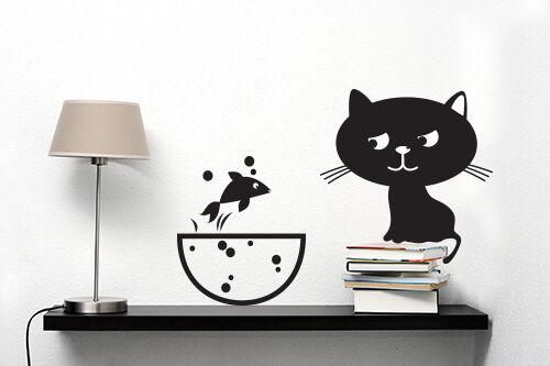 00978 Wall Stickers Adesivi Murali Decorativi Attenti al gatto 2 51x36 cm