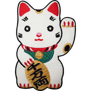 Japanese-Lucky-Waving-White-Cat-Embroidered-Iron-Sew-On-Patch-T-Shirt-Badge