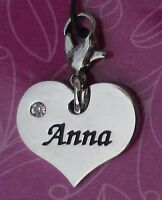 Cc Anna Heart Name Charm For Bracelet Cherish Charms Lobster Closure Jewelry