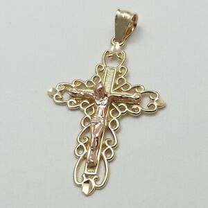 14K Rose Yellow Two Tone Gold Filigree Crucifix Cross Charm Pendant New