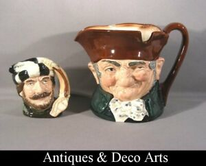 """2 Royal Doulton Character Jugs """"Old Charley"""" D5420 + """"THE TRAPPER"""" D6612"""