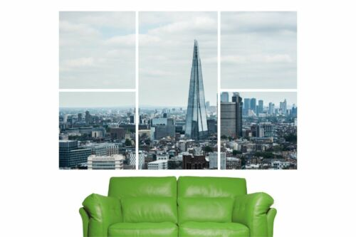 5 Piece Self Adhesive Shard London City Skyline Wall Sticker Poster M13-406