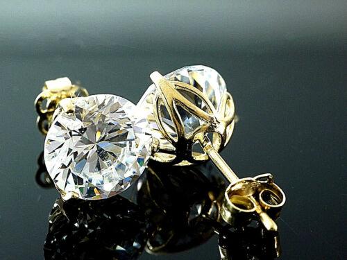 585 Gold Ohrstecker 8 mm  3 Krappen Tulpenfassung mit Zirkonia Steinen  1 Paar