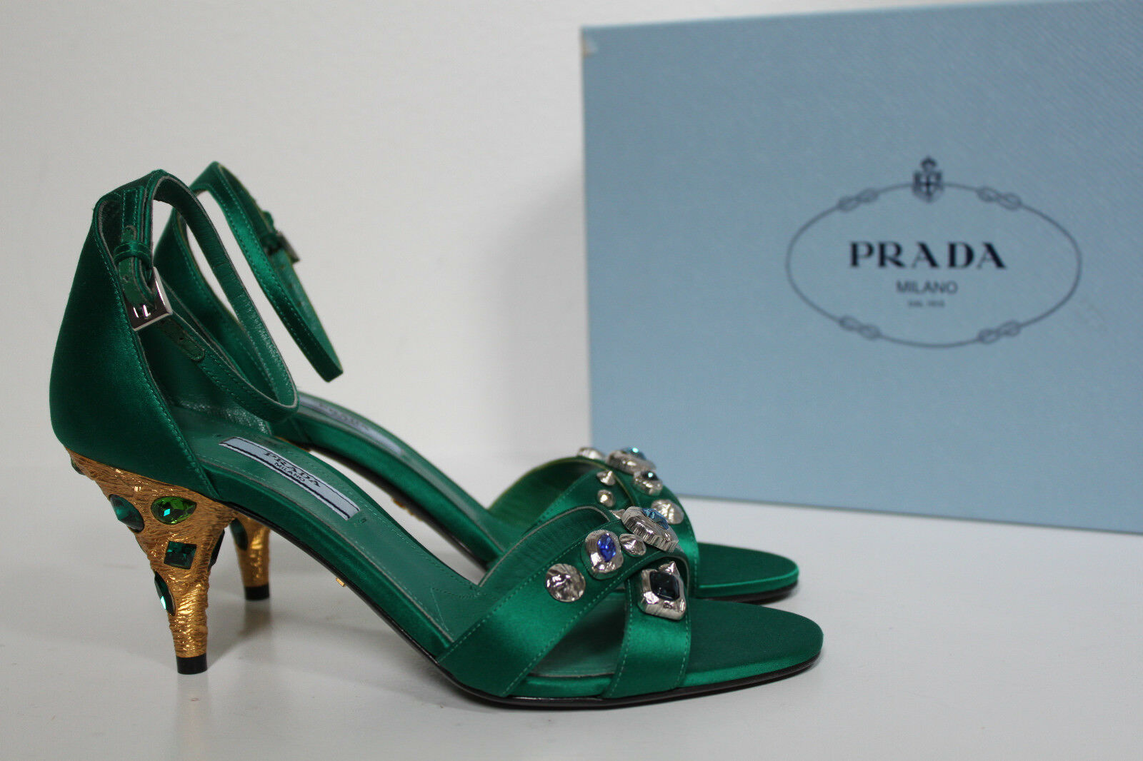 New sz 7   37 PRADA Green Satin Open Toe Jeweled Crystal Heel Ankle Sandals shoes