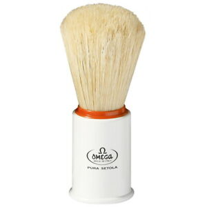 Omega-Italy-Shaving-Brush-White-Orange-Pig-Bristles-Pure-Natural
