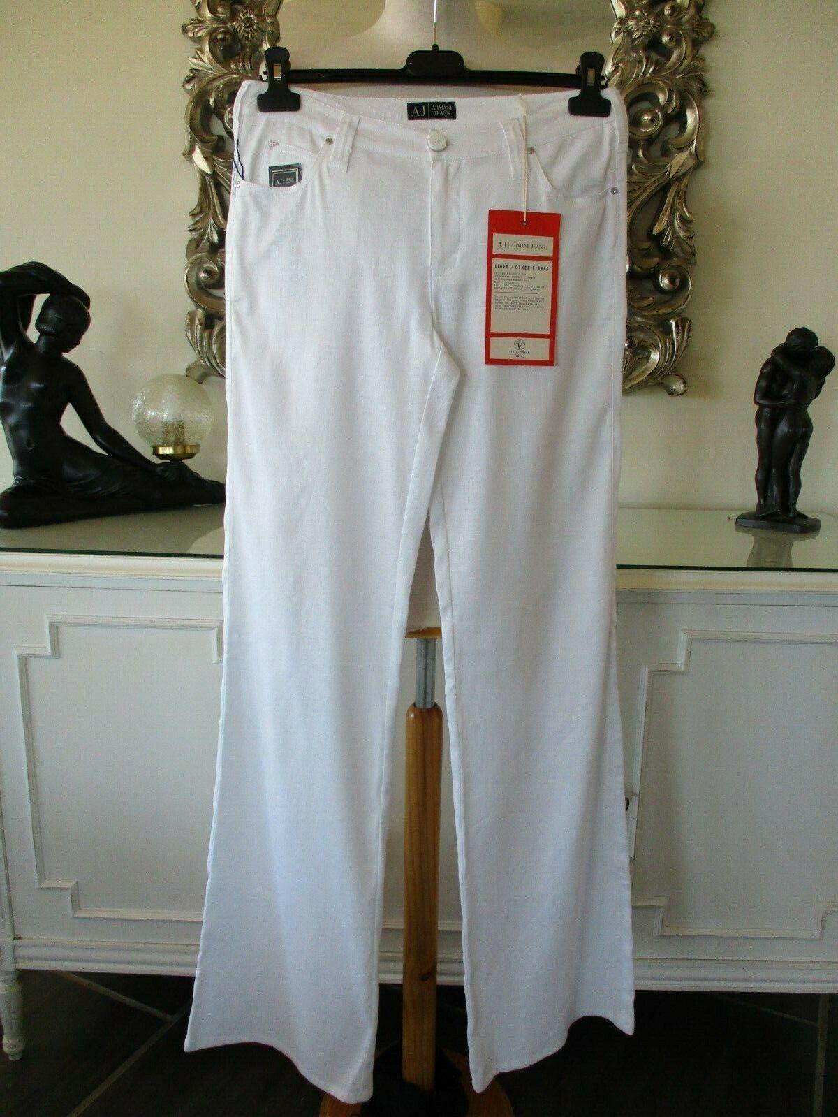 ARMANI ARMANI ARMANI JEANS Weiß Linen Cotton Blend Wide Leg Designer Trousers 27 W 10 12 BNWT   Sonderpreis  211755