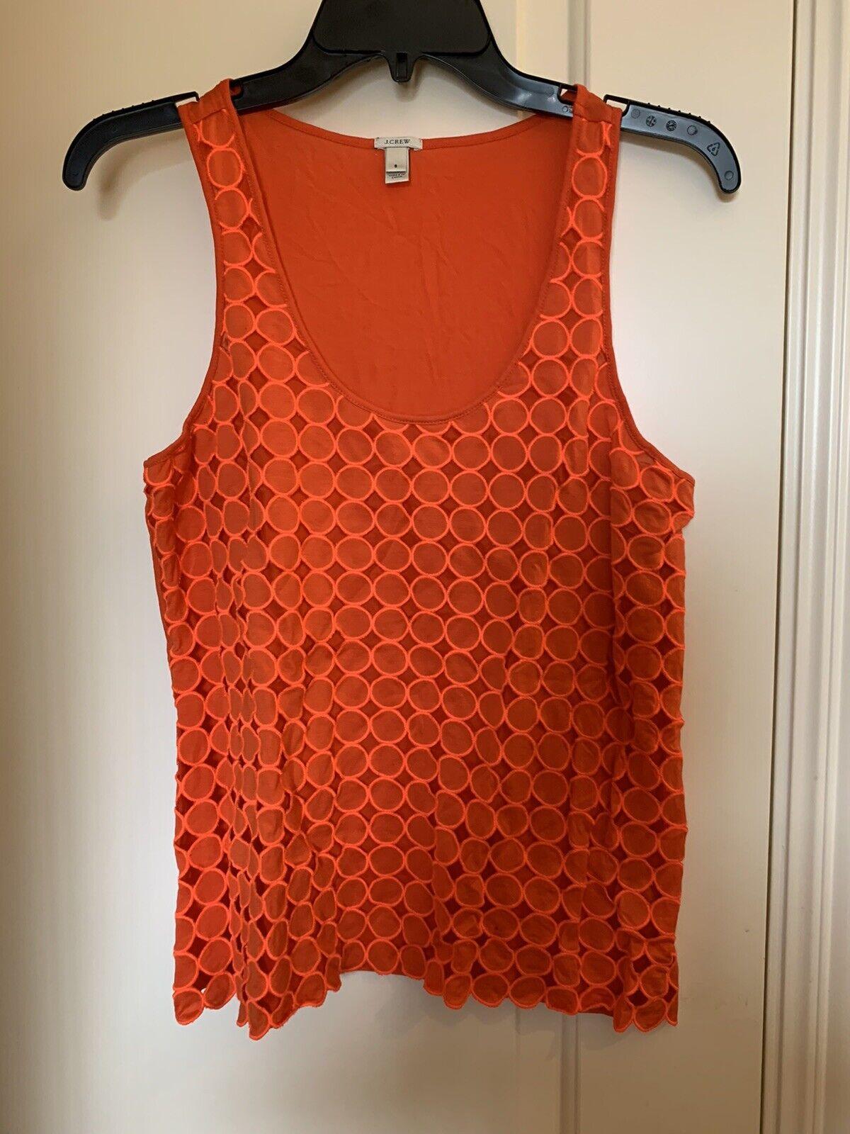 J Crew Womens Eyelet Dot Tank Top Orange Cotton S… - image 2