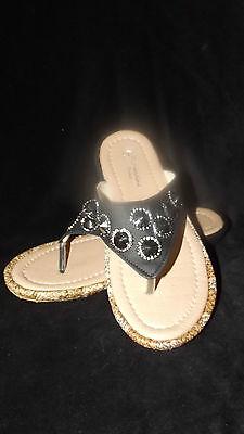 Nuevas señoras ex tienda Confort Acolchado Black Gold Con Piedras Preciosas De La Post Sandalias Talle 3 - 8