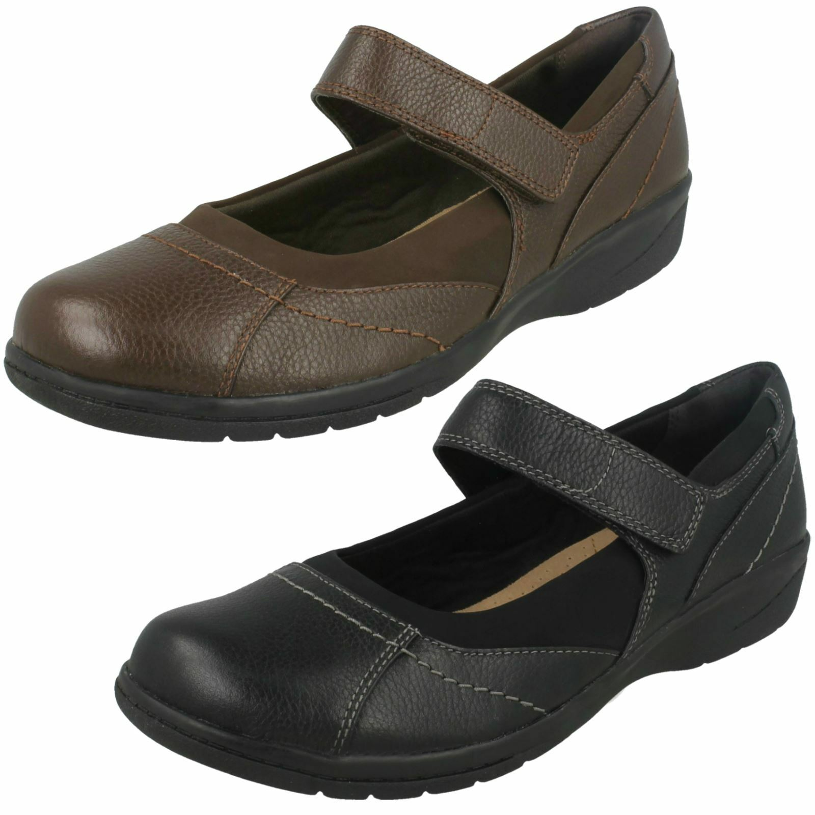 Ladies Clarks Cushioned Mary Jane Hook & Loop Leather Casual Shoes Cheyn Web