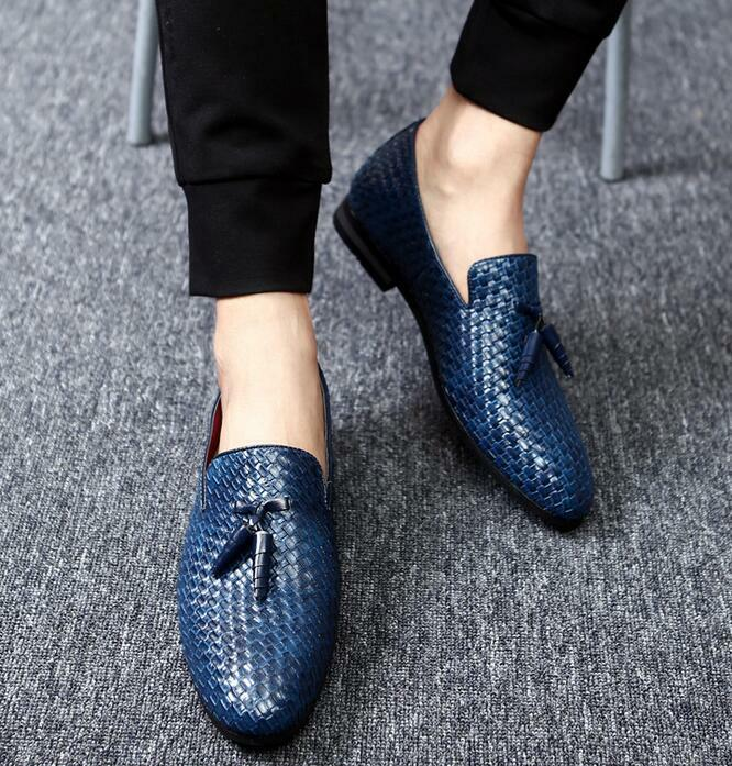New men's tassels UK dress shoes woven pointed toe pu leather oxfords size 37-48