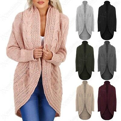 NEW LADIES OPEN CARDIGAN CHUNKY CABLE KNIT THROW OVER LOOK WOMENS CARDI JACKET | eBay