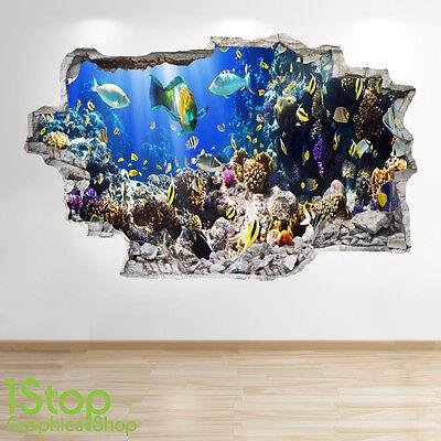 Tropical Fish Wall Sticker 3D Look Ocean Dolphin Porthole Beach Bedroom