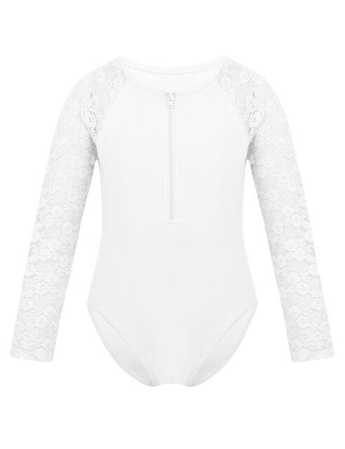 iiniim Kids Girls Long Sleeves Sports Dance Crop Top Outfit for Ballet Gymnastics Leotard Stage Performance Dancewear