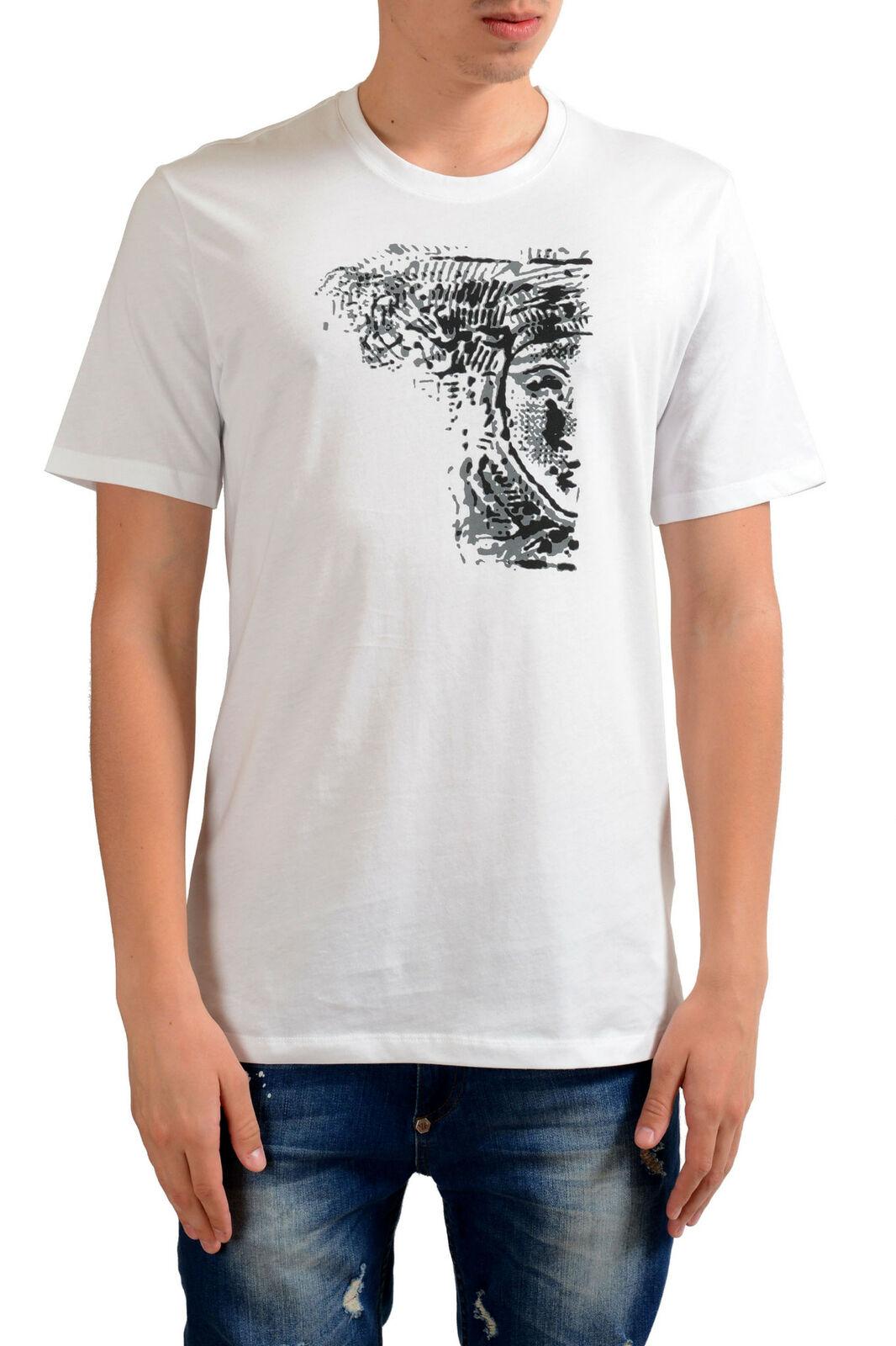 Versace Collection Uomo Bianco Stampa Grafica T-Shirt Taglie