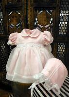 Will'beth Pink Sheer Overlay Smocked Dress Newborn Bonnet Baby Girls Size 0