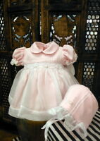 Will'beth Pink Sheer Overlay Smocked Dress Newborn Bonnet Baby Girls Size 0
