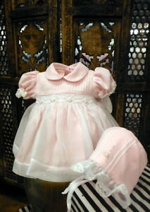 NWT-Will-039-beth-Pink-Sheer-Overlay-Smocked-Dress-3-Months-3M-Bonnet-Baby-Girls