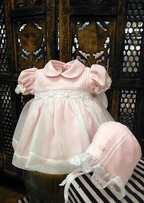 NWT Petit Ami White Smocked Lace 3PC Dress Preemie Reborn Baby Girls Bonnet