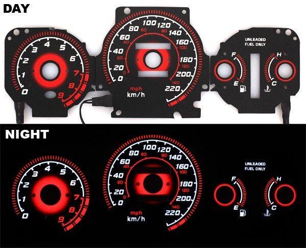 fits 96-00 EK Honda Civic EX Si GLi Glow Gauges TYPE-R RED Reverse AT KMH BLACK