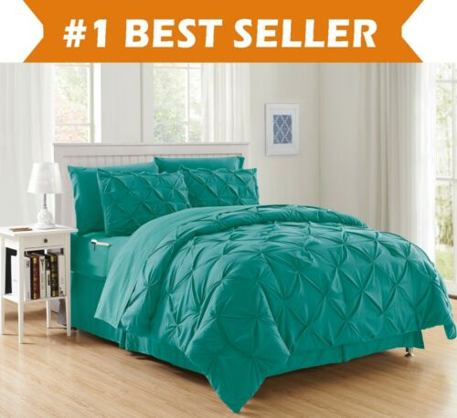 8-Piece Pintuck Design Bed-in-a-Bag Comforter Set All Color All Size