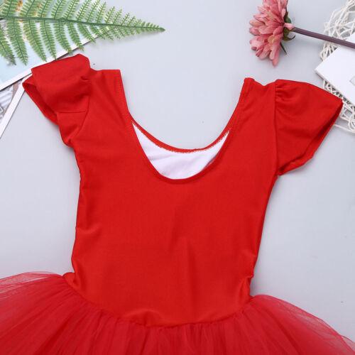 Kids Girls Gymnastics Leotard Tulle Ballet Dance Tutu Dress Cross Back Dancewear