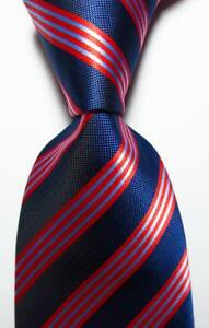 New-Classic-Striped-Dark-Blue-Red-JACQUARD-WOVEN-Silk-Men-039-s-Tie-Necktie
