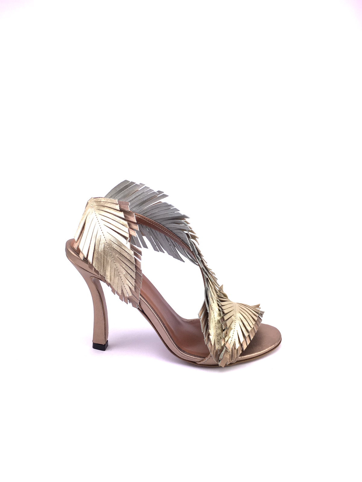 Baldowski high heel sandal with metallized leather leaves