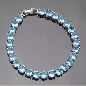 Natural-Blue-Fire-Opal-Topaz-Tennis-Sterling-Silver-Bracelet-Bangle