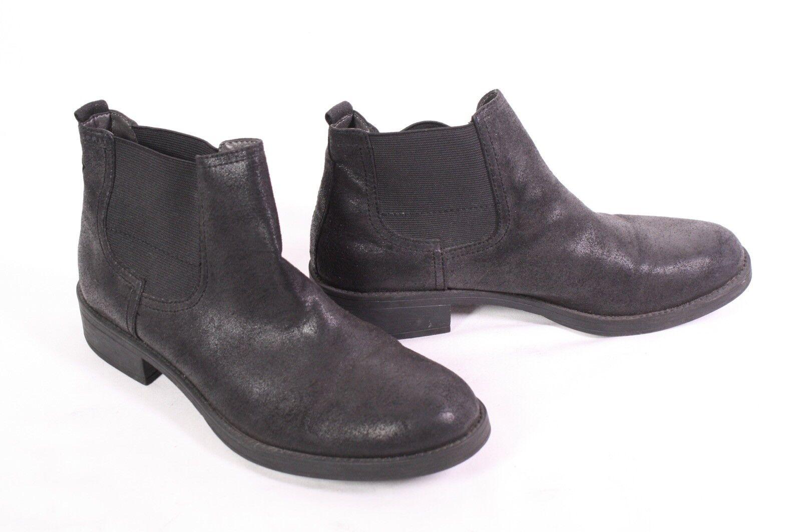 12D Esprit Stiefeletten Chelsea Boots Gr. 38 Kunstleder matt black Profilsohle
