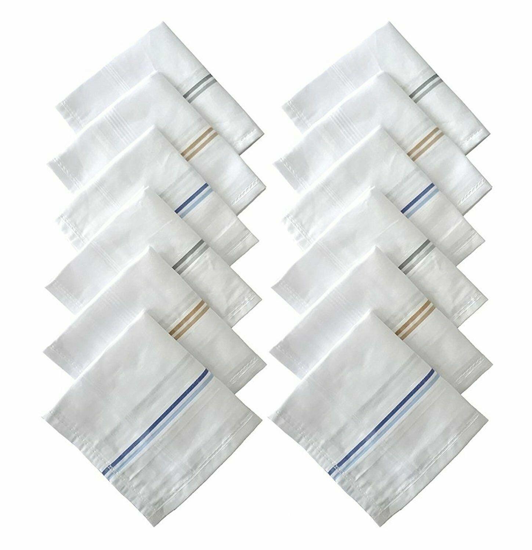 10 PCS Pure Soft 100% Cotton Plain White Hankies Handkerchief