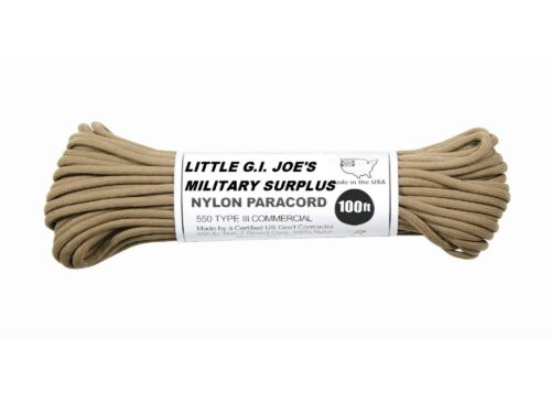 COYOT BROWN 550LB 7 Strand 100/%Type3 Nylon made USA Parachute Paracord 100FT 193