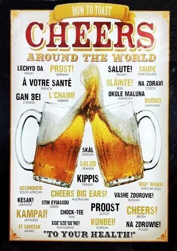 CHEERS AROUND THE WORLD Retro Vintage SIGN Poster Print Bar Pub Decor A3 BEER
