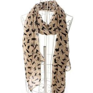 Cat Print Scarf Celebrity Fashion Shawl Scarves WRAP Ladies Animal Soft APRICOT