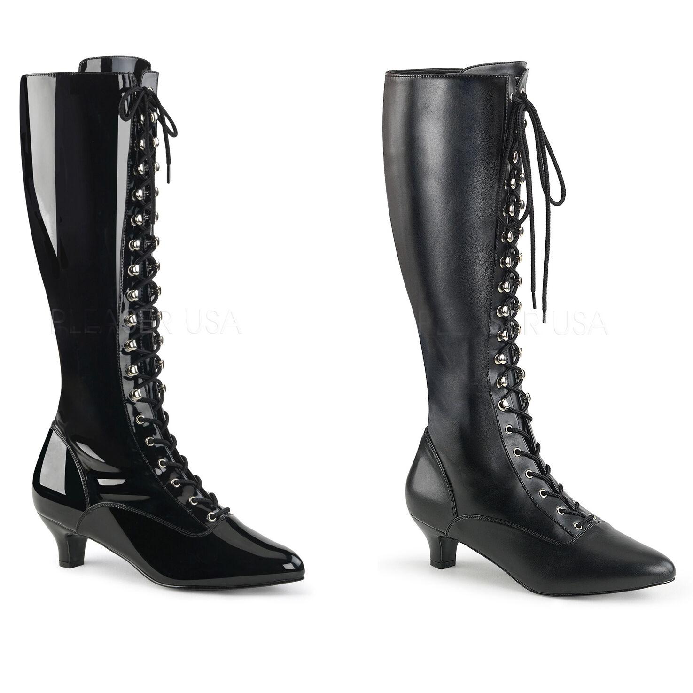 Fab-2023 élégante Pleaser femmes délaçage noir simili cuir verni T 42-47