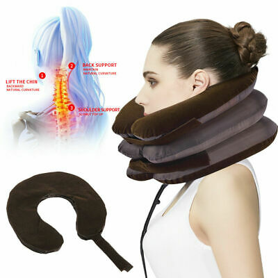 Inflatable Neck Traction Collar Relief Cervical Back Pain Soft Brace Device UK